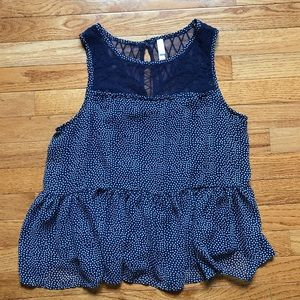 Xhilaration Sleeveless Polkadot Peplum Top- Size L